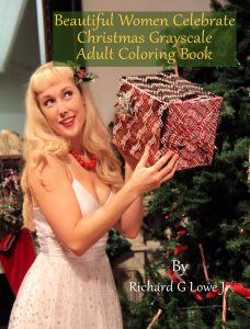 Beautiful Women Celebrate Christmas Grayscale Adult Coloring Book